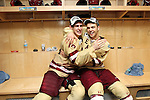 07 APR 2012:  Chris Kreider (19) and Isaac MacLeod (7) of Boston College celebrate their victory over Ferris State University during the Division I Men's Ice Hockey Championship held at the Tampa Bay Times Forum in Tampa, FL.  Boston College defeated Ferris State 4-1 to win the national title.  Matt Marriott/NCAA Photos