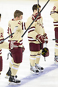 Pat Mullane (BC - 11), Danny Linell (BC - 10) - The Boston College Eagles defeated the visiting Northeastern University Huskies 3-0 after a banner-raising ceremony for BC's 2012 national championship on Saturday, October 20, 2012, at Kelley Rink in Conte Forum in Chestnut Hill, Massachusetts.