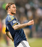 CARSON, CA – May 7, 2011: LA Galaxy midfielder David Beckham (23) before the match between LA Galaxy and New York Red Bull at the Home Depot Center, May 7, 2011 in Carson, California. Final score LA Galaxy 1, New York Red Bull 1.