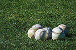 13 March 2014: A group of baseballs lie on the grassprior to a Spring Training game between the Washington Nationals and the New York Mets at Space Coast Stadium in Viera, Florida. The Mets defeated the Nationals 7-5 in Grapefruit League play. Mandatory Credit: Ed Wolfstein Photo *** RAW (NEF) Image File Available ***