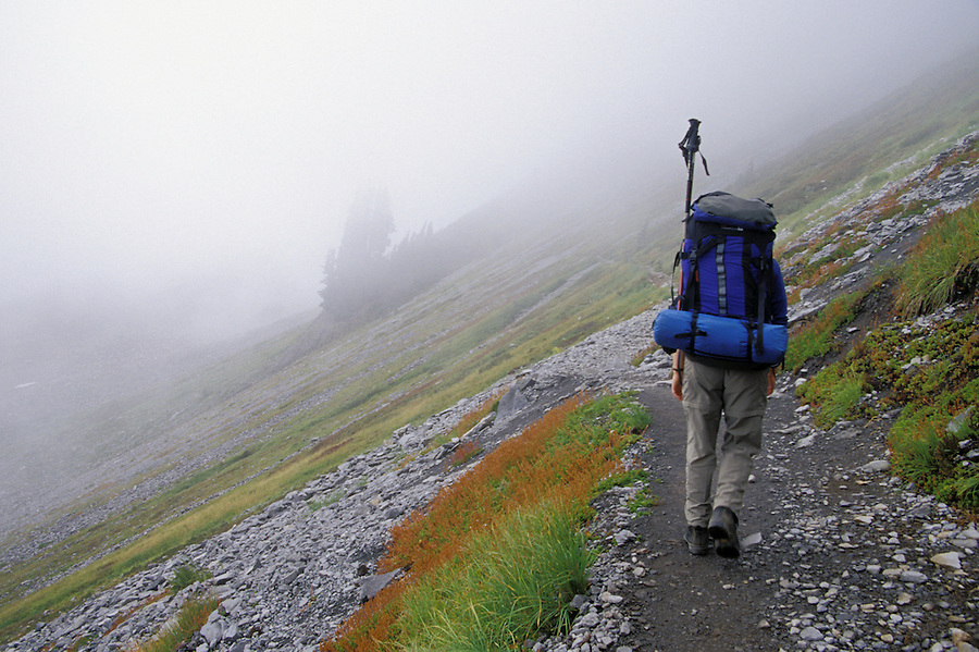 Hiker on Chain Lakes Trail, North Cascades, Cascade Mountains, Washington