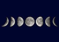PHASES OF THE MOON<br /> Phases of the Moon<br /> (left-right) Waxing Crescent, First Quarter, Waxing Gibbous, Full Moon, Waning Gibbous, Third Quarter, Waning Crescent.