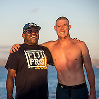 Namotu Island Resort, Nadi, Fiji (Saturday, June 9 2016): Ulai Namotu Boatman with Mick Fanning (AUS). The Fiji Pro, stop No. 5 of 11 on the 2016 WSL Championship Tour, was called off again today due to the lack of contestable swell at Cloudbreak. The contest is facing a number of lay days due to the small surf conditions and bad winds.  <br />  There was a slight increase in the swell this morning but there were strong SW winds making the ocean very choppy.<br /> Photo: joliphotos.com