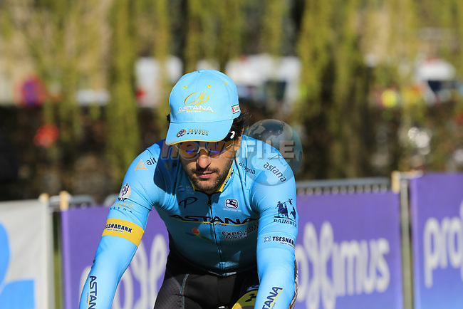 Oscar Gatto (ITA) Astana Pro Team heads to sign on before the start of Gent-Wevelgem in Flanders Fields 2017, running 249km from Denieze to Wevelgem, Flanders, Belgium. 26th March 2017.<br /> Picture: Eoin Clarke | Cyclefile<br /> <br /> <br /> All photos usage must carry mandatory copyright credit (&copy; Cyclefile | Eoin Clarke)