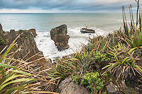 Limestone formations on Punakaiki coastline at sunrise, Paparoa National Park, Buller Region, West Coast, South Island, New Zealand, NZ