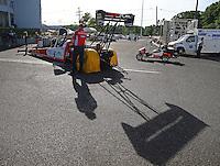Jun 10, 2016; Englishtown, NJ, USA; NHRA top fuel driver Shawn Langdon during qualifying for the Summernationals at Old Bridge Township Raceway Park. Mandatory Credit: Mark J. Rebilas-USA TODAY Sports