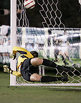 3 November 2006: Florida State goalkeeper Kimberly Diaz watches as the Wake Forest penalty kick she deflected ends up inside the post and into the side netting. Florida State defeated Wake Forest 4-2 in penalty kicks after playing to a 0-0 draw after overtime at SAS Soccer Park in Cary, North Carolina in an Atlantic Coast Conference women's college soccer tournament semifinal game.