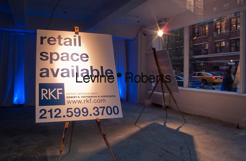 Retail space available in the New York neighborhood of Chelsea seen on Thursday, October 7, 2010. (© Richard B. Levine)