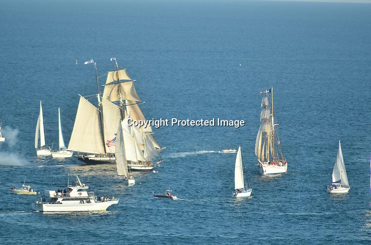 Royalty Free Stock photo of tall ships at sea