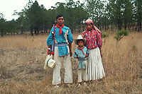 Family. Wixarika (Huichol) community in the Sierra Madre Occidental, Mexico