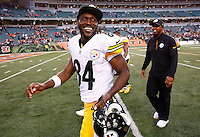 Antonio Brown #84 of the Pittsburgh Steelers reacts as he walks off of the field following their 33-20 win against the Cincinnati Bengals during the game at Paul Brown Stadium on December 12, 2015 in Cincinnati, Ohio. (Photo by Jared Wickerham/DKPittsburghSports)