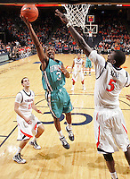 Virginia beat UNC Wilmington 69-67 Monday Jan. 18, 2010 in Charlottesville, Va. UNC Wilmington's Darion Jeralds (Photo/The Daily Progress/Andrew Shurtleff)