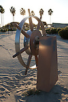 Ship's Wheel sculpture in Lighthouse Park at the Rainbow Harbor Lighthouse