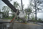 Downed electric lines as the result of a storm on County Road 101 near the Lafayette County Industrial Park in Oxford, Miss. on Wednesday, April 27, 2011.