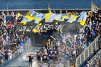 Philadelphia Union fans celebrate a goal. The Philadelphia Union and the Seattle Sounders played to a 2-2 tie during a Major League Soccer (MLS) match at PPL Park in Chester, PA, on May 4, 2013.
