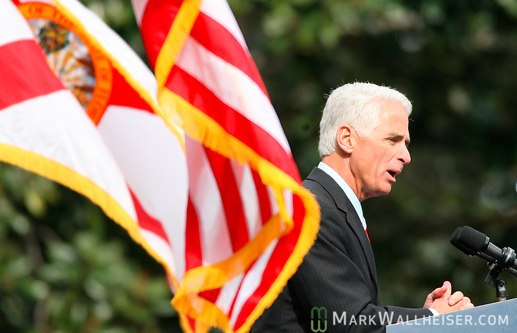 Governor Charlie Crist delivers his inaugural address after being sworn in as the 44th Governor of the State of Florida on the east portico of the Old Capitol in Tallahassee, Florida January 2, 2007.   (Mark Wallheiser/TallahasseeStock.com)