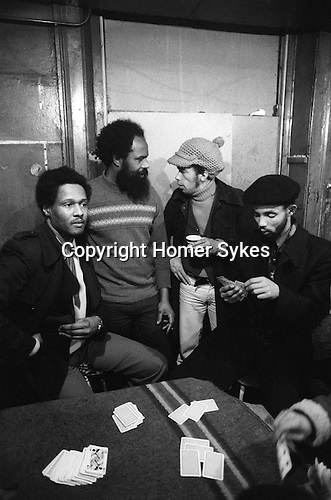 Frank Crichlow Mangrove resturant All Saints Road Notting Hill west London 1978. From Left 2 Right: Ronnie, Frank Crichlow, Zoro, Speedy,
