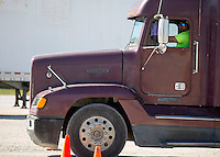 NWA Democrat-Gazette/JASON IVESTER<br /> Charlie Welch of Elkins navigates a course Wednesday, March 1, 2017, during the CDL class at Northwest Technical Institute in Springdale.