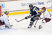 Parker Milner (BC - 35), Maxim Gaudreault (UNH - 14), Teddy Doherty (BC - 4) - The Boston College Eagles defeated the visiting University of New Hampshire Wildcats 5-2 on Friday, January 11, 2013, at Kelley Rink in Conte Forum in Chestnut Hill, Massachusetts.