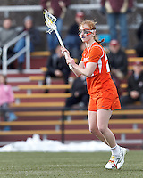 Syracuse University midfielder Bridget Daley (24) looks to pass.  Syracuse University (orange) defeated Boston College (white), 17-12, on the Newton Campus Lacrosse Field at Boston College, on March 27, 2013.