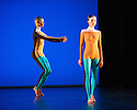 """Michael Clark Company in a piece set to """"Albatross"""" by Public Image Limited, at the Barbican. Dancers are: Harry Alexander, Julie Cunningham, Melissa Hetherington, Oxana Panchenko, Daniel Squire and Benjamin Warbis.  Picture shows: Harry Alexander and Melissa Hetherington. Photograph © Jane Hobson."""