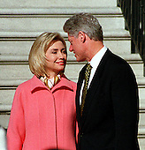 United States President Bill Clinton and first lady Hillary Rodham Clinton share a private moment as they prepare to greet President Jiang Zemin of China who will arrive for a State Visit to the White House in Washington, D.C. on October 29, 1997..Credit: Ron Sachs / CNP