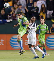 CARSON, CA – NOVEMBER 7:  Seattle Sounders defender Leo Gonzalez (19) and LA Galaxy forward Edson Buddle (14) during a playoff soccer match at the Home Depot Center, November 7, 2010 in Carson, California. Final score LA Galaxy 2, Seattle Sounders 1.