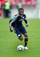 22 May 2010: New England Revolution midfielder Sainey Nyassi #14 in action during a game between the New England Revolution and Toronto FC at BMO Field in Toronto..Toronto FC won 1-0.....