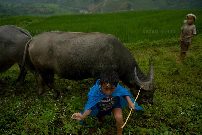 Children play in a minority village outside of Sapa, Vietnam.