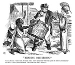 """""""Mending the Lesson."""" Political Economy. """"Take care, my dear John. Don't interfere with the laws of supply and demand."""" John Bull. """"I don't, Miss Prudence. She demands and I supply."""""""