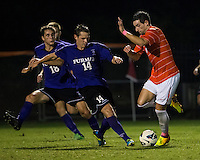 The number 24 ranked Furman Paladins took on the number 20 ranked Clemson Tigers in an inter-conference game at Clemson's Riggs Field.  Furman defeated Clemson 2-1.  Kevin Pahl (14), Manolo Sanchez (8)