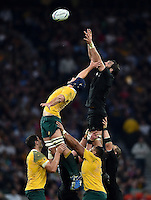Dean Mumm of Australia competes with Sam Whitelock of New Zealand for the ball at a lineout. Rugby World Cup Final between New Zealand and Australia on October 31, 2015 at Twickenham Stadium in London, England. Photo by: Patrick Khachfe / Onside Images