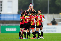 The PR China team huddle together prior to the match. FISU World University Championship Rugby Sevens Women's 7th/8th place match between Spain and PR China on July 9, 2016 at the Swansea University International Sports Village in Swansea, Wales. Photo by: Patrick Khachfe / Onside Images