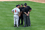Braves' manager Bobby Cox (6) argues with the umpires after a Braves' home run was changed to a foul ball on appeal in the top of the seventh inning on Monday, May 30, 2005. The Washington Nationals defeated the Atlanta Braves 3-2 at RFK Stadium in Washington, DC.
