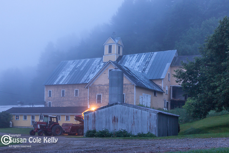 Dairy farm before dawn in Hartland, VT, USA