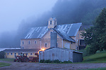 Dairy farm before dawn in Hartland, VT, USA