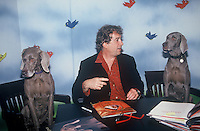 William Wegman Famous Photographer/.Artist/Author at a book signing in NYC 1996.  Pictured with the stars of his many books, dogs.