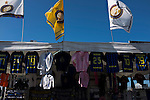 Internazionale 1 Cagliari 2, 16/10/2016. San Siro, Italian Serie A. A selection of souvenir flags on sale outside the Stadio Giuseppe Meazza, also known as the San Siro, before Internazionale took on Cagliari in an Italian Serie A fixture. <br /> The match was overshadowed by a huge controversy that as Inter Ultras declared open warfare on captain Mauro Icardi for a chapter in his autobiography, accusing him of lying about an incident in 2015. Inter Milan lost the match 2-1, watched by a crowd of 43,757. Photo by Colin McPherson.