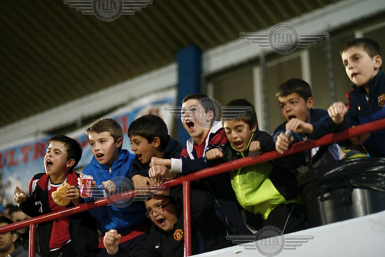 Young fans cheer and sing in the stands of the Victoria Stadium during an under-17 football match against Northern Ireland. Although the United Nations doesn't recognise Gibraltar as an independent country, UEFA has recognised it and has granted the British Overseas Territory full UEFA membership.