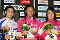 (L to R) .Yayoi Matsumoto, .Hanae Ito, .Chihiro Igarashi, .FEBRUARY 11, 2012 - Swimming : .The 53rd Japan Swimming Championships (25m) .Women's 200m Freestyle Victory Ceremony .at Tatsumi International Swimming Pool, Tokyo, Japan. .(Photo by YUTAKA/AFLO SPORT) [1040]