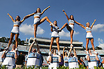 30 August 2014: UNC cheerleaders. The University of North Carolina Tar Heels hosted the Liberty University Flames at Kenan Memorial Stadium in Chapel Hill, North Carolina in a 2014 NCAA Division I College Football game.