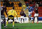 St Johnstone v Hearts..19.12.15  SPFL  McDiarmid Park, Perth<br /> Michael O'Halloran heads straight at Neil Alexander<br /> Picture by Graeme Hart.<br /> Copyright Perthshire Picture Agency<br /> Tel: 01738 623350  Mobile: 07990 594431