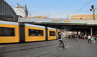 U-Bahn or underground train and people on bicycles - transport on Alexanderplatz, Berlin, Germany. Picture by Manuel Cohen