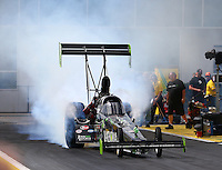 Mar 13, 2015; Gainesville, FL, USA; NHRA top fuel driver Ike Maier during qualifying for the Gatornationals at Auto Plus Raceway at Gainesville. Mandatory Credit: Mark J. Rebilas-
