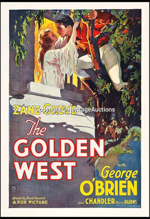 BNPS.co.uk (01202 558833)<br /> Pic: HeritageAuctions/BNPS<br /> <br /> The Golden West (Fox, 1932) estimate $6,000.<br /> <br /> A lucky family is set to make a staggering &pound;160,000 after a hoard of old film posters they stumbled upon under the floor of their new home turned out to be 'lost' Hollywood relics.<br /> <br /> The prized stash of 17 perfectly preserved posters was discovered by Bob and Dylan Basta as they tore up the lino in the house their dad Robert was renovating. <br /> <br /> After calling in experts from leading auctioneers Heritage they found that among their treasure trove were five never-seen-before posters from the Golden Age of Hollywood.<br /> <br /> The collection is now tipped to fetch a whopping $240,000 - around &pound;160,000 - at Heritage Auctions in Dallas, Texas.