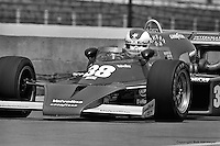 INDIANAPOLIS, IN: Clay Regazzoni drives out of the pit lane in his McLaren M16C 4/Offenhauser TC during practice for the Indianapolis 500 on May 29, 1977, at the Indianapolis Motor Speedway.