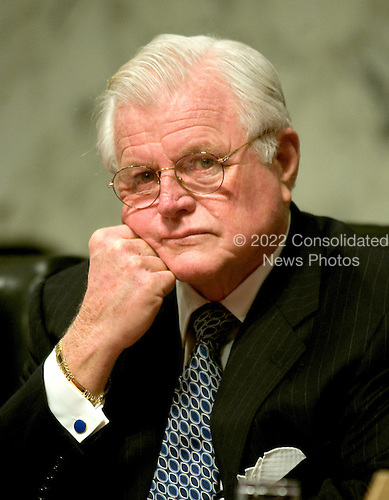 """Washington, D.C. - January 11, 2006 -- United States Senator Edward M. """"Ted"""" Kennedy (Democrat of Massachusetts) listens as Judge Samuel A. Alito testifies before the United States Senate Judiciary Committee on his nomination to be Associate Justice of the United States Supreme Court in Washington, D.C. on January 11, 2006..Credit: Ron Sachs / CNP"""