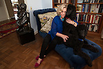 New York, NY - October 03, 2013 : Author Erica Jong with her poodles Collette (red collar) and Simone (blue collar), at her apartment in New York, NY on October 03, 2013. Fear of Flying, celebrating its 40th anniversary, is a 1973 novel by Erica Jong, which became famously controversial for its attitudes towards female sexuality, and figured in the development of second-wave feminism.
