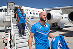 FC Luzern v St Johnstone...16.07.14  Europa League 2nd Round Qualifier<br /> Keeper Alan Mannus steps off the plane at Basel in Switzerland ahead of tomorrow's game against FC Luzern<br /> Picture by Graeme Hart.<br /> Copyright Perthshire Picture Agency<br /> Tel: 01738 623350  Mobile: 07990 594431