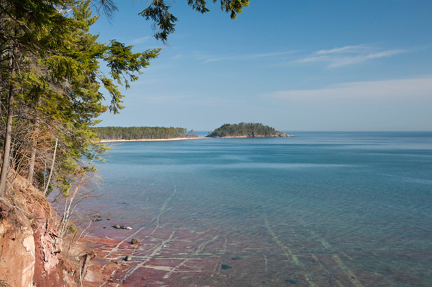 Lake Superior shoreline near Wetmore Landing and Little Presque Isle areas near Marquette Michigan in Michigan's Upper Peninsula.